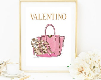 Valentino, fashion illustration, wall decor home and office, DIY printable poster, Greeting  card, gift idea