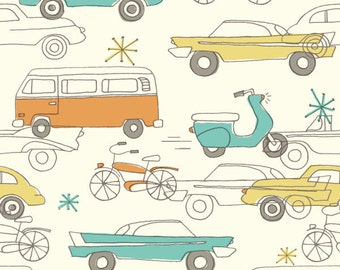 Birch Fabrics - Organic Cotton - Circa 52 - Cars Cream - Poplin by the Yard