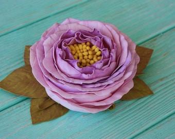 Violet antique garden rose hair clip and brooch