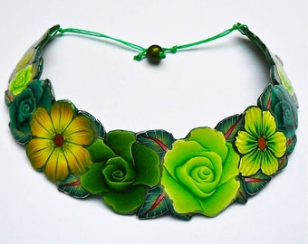 Green torque in polymer clay necklace