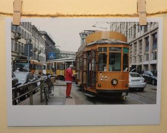 Trams in traffic * Travel Postcard