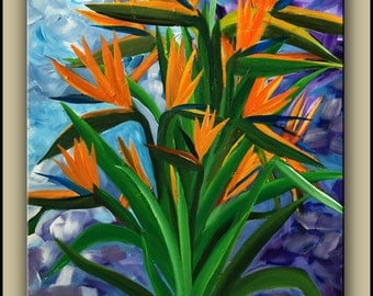 Bird of Paradise Flower painting, Abstract, Modern, Ready to Hang
