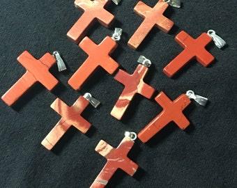 Lot of 9 Red/Mahogany Jasper Cross Pendants