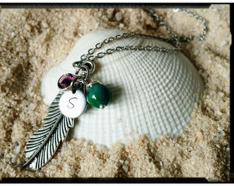 Sale* Feather Charm Necklace - Initial & Swarovski Crystal Birthstone - Blue Chrysocolla Accent Stone - Stainless Steel Chain/Initial Charm