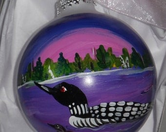 Loon Ornament, loon art, hand painted ornament, Maine art, loon ball, loon glass ornament 3 1/4 round with bow
