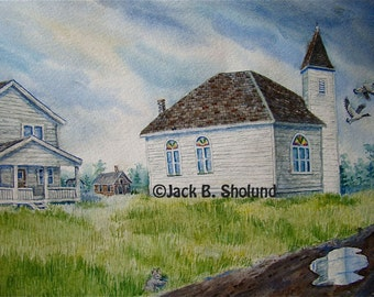 Old Bigfork Church Watercolor Notecard