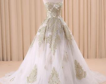Gold Lace Strapless Ballgown Wedding Dress
