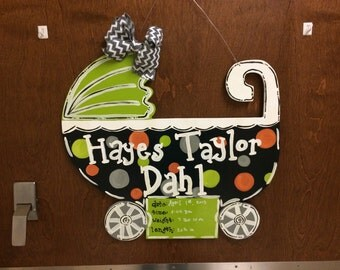 Baby Boy Hospital Door Hanger, Baby Carriage Door Hanger