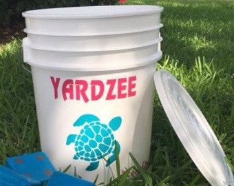 Personalized Bucket for Yardzee Outdoor Game - 5 gallon Personalized Bucket for Yardzee Set - Yardzee Bucket Only