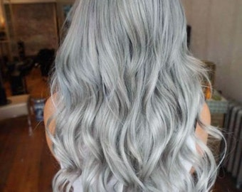Ombre Gray European Clip in Extensions- / 120grams Full head Luxury set / 100% Human Hair Re-usuable guranteed