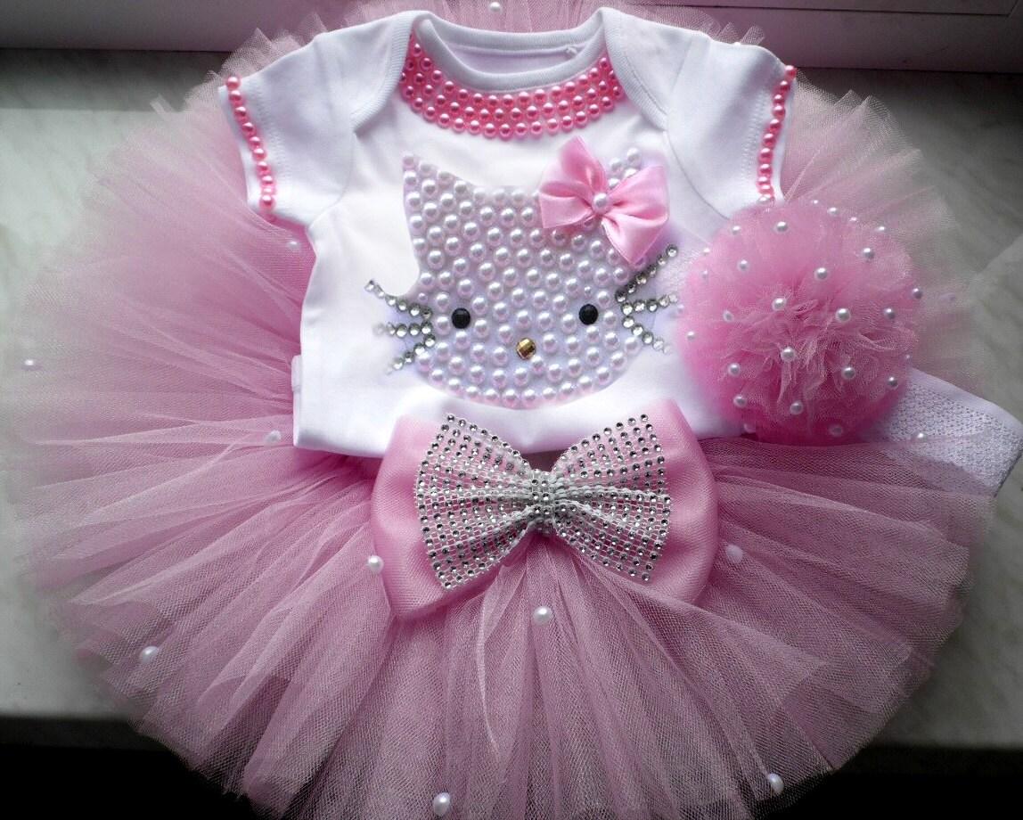 Maries Manor Hello Kitty: Hello Kitty Birthday Tutu Set Girls By BabyDressBoutique