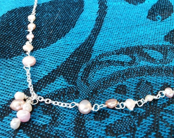 Silver Freshwater Pearl Wire Wrapped Necklace