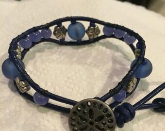 Beaded blue leather bracelet