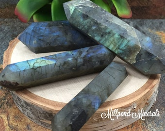 Labradorite Wand, Double Terminated Labradorite Wand, Raw Labradorite Wand, Crystals, Minerals, Home Decor