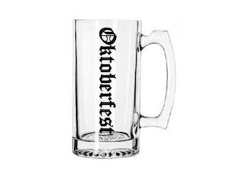 Oktoberfest Beer Stein- Pretzel- Sausage- Beer- Music 28oz Beer Stein MANY COLORS