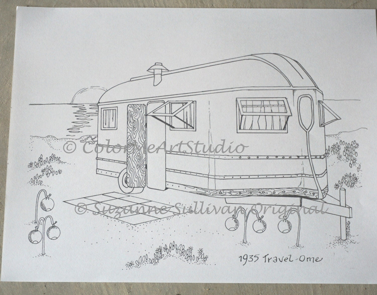 Printable Download Vintage RV Coloring Page 1935 Travel-Ome