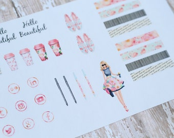 Hello Beautiful Planner Girl Planner Agenda Stickers