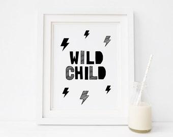 "Monochrome Nursery Art ""Wild Child"" Printable Decor, Black and White Nursery Art, Childrens Room Wall Decor, Instant Download *DIY PRINT*"