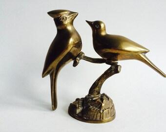 Vintage Brass Birds On A Stand