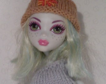 Hand knit and hand embroidered kufi hat to fit Monster High Doll