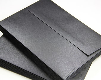 25 - A7 Square Flap Black Metallic Envelopes - 5 1/4 x 7 1/4 - Onyx