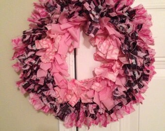 Breast Cancer Awareness Fabric Wreath
