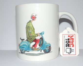 Vespa Rider Drawing - 11oz Ceramic Coffee Cup Mug