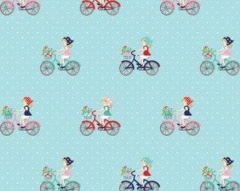 Riley Blake Vintage Market Bicycle Fabric in Aqua Fat Quarter