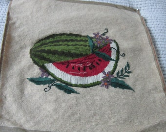 Vintage Needlepoint Fruit Motif Picture or Pillowtop