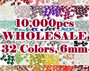 6mm 10000pcs (Resin) Round Flat Back Facet Rhinestones Scrapbooking Nail Art Cabochon Deco Craft DIY (WHOLESALE) 32 Colors