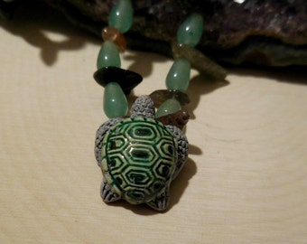 Tourmaline and Aventurine Necklace with Turtle bead