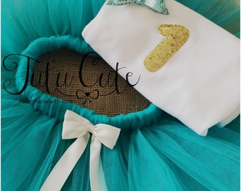 Teal and gold birthday tutu set. Tutu, top and hair bow perfect for 1st and 2nd birthday's.