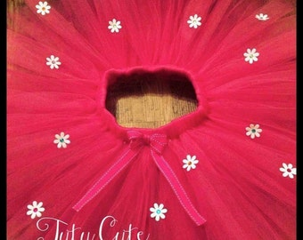 Pink Flower Tutu Skirt with Satin Bow. Perfect for birthdays and photo shoots.