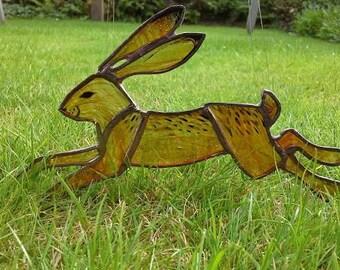 Stained glass running hare suncatcher