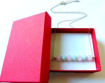 Necklace collection Link : rose quartz, amazonite
