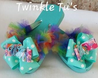 My Little Pony Rainbow Dash Tutu Flip Flops Sandals, Shoes