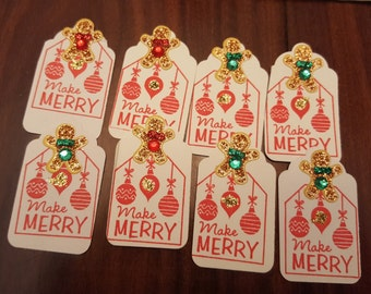 Set of 8 sparking Christmas tags