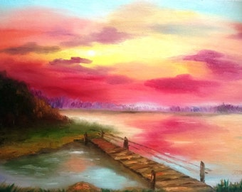 Sunset oil painting on canvas 12x16 with free shipping / gift for mom / gift for grandmother / sunset river forest landscape pink blue