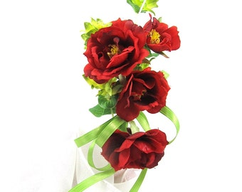 Rose Wedding Corsage, Silk Wild Red Rose Corsage with Lime Greens and Ribbon, Silk Floral Bridal Corsage, Wrist or Shoulder Corsage