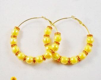 YELLANGE - Spring Bling Yellow and Orange Hoop Earrings - 2.5in - Basketball Wives Style