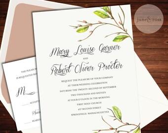 Floral Branch Wedding Invitation - Custom Handmade Wedding Invitation Suite by June & Ross Paper - Deposit to get started