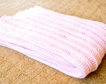 Pale Pink Accordion Crochet Baby Blanket