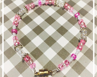 7 inch Petite Beaded Bracelet Pink and Pearl