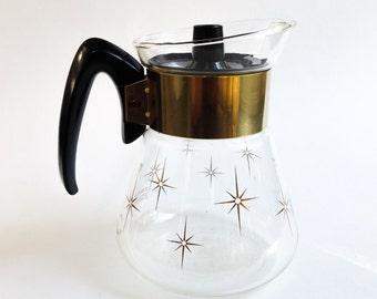 Vintage teapot, Retro teapot, Vintage coffeemaker, Starburst teapot, Corning teapot with lid, Gold teapot, Coffeemaker with stars