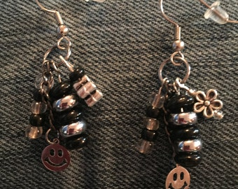Black and Silver Dangly Earring