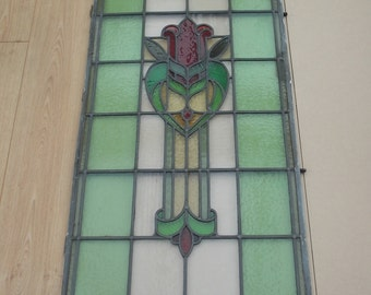 Vintage Stained Glass Leaded Window Panel 1