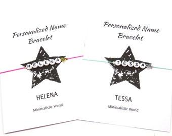Name bracelet -personalized name heart bracelet - minimalist heart bracelet - custom made name bracelet - friendship bracelet gift