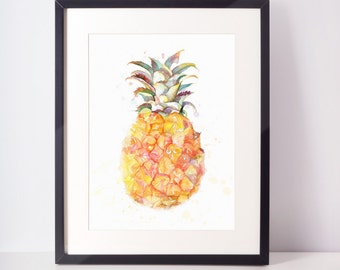 Pineapple Print, Pineapple Wall Art, Printable Pineapple, Best Selling Items, Watercolor Pineapple, Tropical Print, Pineapple, Pineapple Art