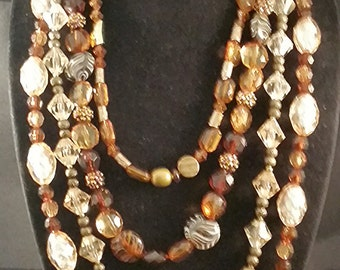 Formal 4-Strand Brown/Tan/Gold Necklace