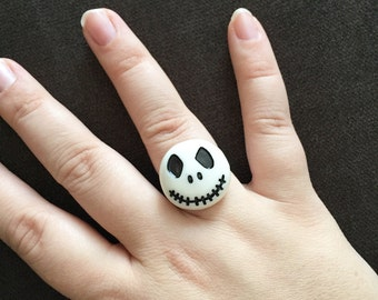 SALE! Jack Skellington Ring - Adjustable Size Silver Statement Ring - Halloween Ring - Nightmare Before Christmas